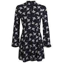 Buy Miss Selfridge Petite Daisy Print Dress, Black Online at johnlewis.com