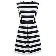 Buy Miss Selfridge A-Line Stripe Pleat Dress, Black Online at johnlewis.com