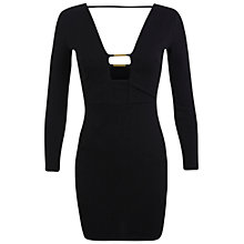 Buy Miss Selfridge Petite Plunge Bodycon Dress, Black Online at johnlewis.com