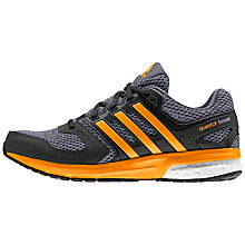 Buy Adidas Questar Boost Mens' Running Shoes, Black/Orange Online at johnlewis.com