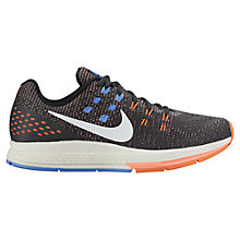 Buy Nike Air Zoom Structure 19 Women's Running Shoes, Black/Orange/Blue Online at johnlewis.com
