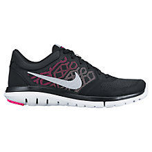 Buy Nike Flex Run 2015 Women's Running Shoes, Black/Silver Online at johnlewis.com