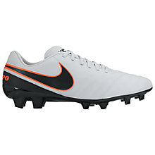 Buy Nike Tiempo Genio Leather II FG Men's Football Boots, White/Black Online at johnlewis.com