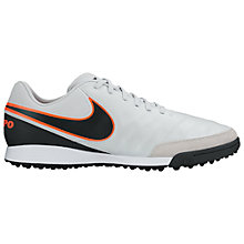 Buy Nike Tiempo Genio Leather Men's TF Football Boots, Silver Online at johnlewis.com