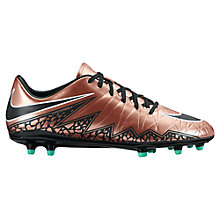 Buy Nike HyperVenom Phelon II FG Men's Football Boots, Red/Bronze Online at johnlewis.com