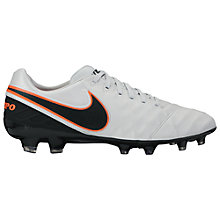 Buy Nike Tiempo Legacy II FG Men's Football Boots, White/Orange Online at johnlewis.com