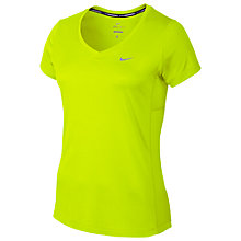 Buy Nike Dry Miler Short Sleeve V-Neck Running Top, Volt Online at johnlewis.com