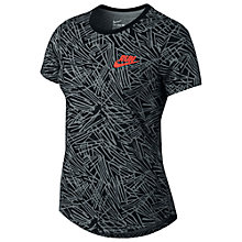 Buy Nike Run P Palm Allover Print Running Top, Cool Grey/Black Online at johnlewis.com