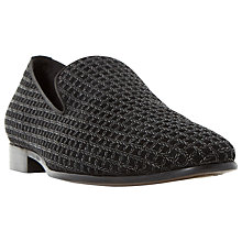 Buy Dune Rex Slip-On Suede Loafers, Black Online at johnlewis.com