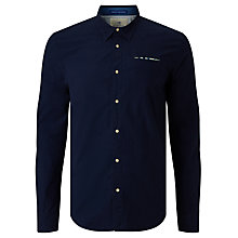 Buy Scotch & Soda Fixed Pocket Square Plain Poplin Shirt, Navy Online at johnlewis.com