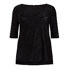 Buy Studio 8 Rie Devore Top, Black Online at johnlewis.com