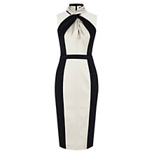 Buy Karen Millen Knot Neckline Dress, Ivory/Black Online at johnlewis.com