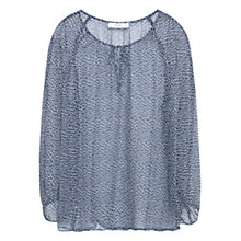 Buy Mango Animal Print Tie Neck Blouse, Navy Online at johnlewis.com