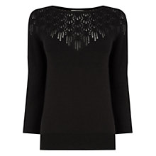 Buy Oasis Pretty Pointelle Jumper, Black Online at johnlewis.com