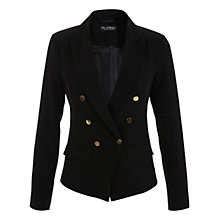 Buy Miss Selfridge Button Front Tailored Jacket, Black Online at johnlewis.com
