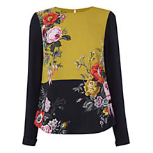 Buy Oasis Placement Floral Block Colour Top, Multi Blue Online at johnlewis.com