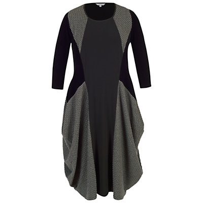 Chesca Mini Wavy Line Jacquard Dress, Charcoal