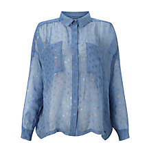 Buy Numph Ella Metallic Fibre Spot Blouse, Blue Yonder Online at johnlewis.com