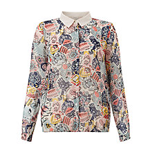 Buy Numph Tessa Printed Shirt, Spiced Coral Online at johnlewis.com