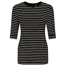Buy Supertrash Striped Double Jersey Top, Black/Off White Online at johnlewis.com