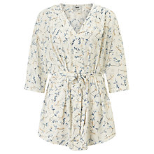 Buy BZR Abbey Floral Print Kimono, White/Blue Online at johnlewis.com