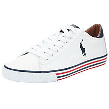Buy Polo Ralph Lauren Harvey Canvas Trainers, Pure White Online at johnlewis.com