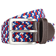 Buy John Lewis Plaited Web Belt, Blue/Red Online at johnlewis.com