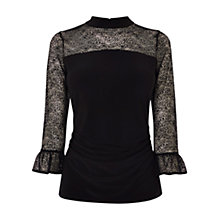 Buy Coast Amalie Lace Jersey Top, Black Online at johnlewis.com