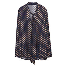 Buy Mango Patterned Blouse, Navy Online at johnlewis.com