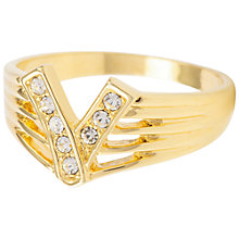 Buy Susan Caplan for John Lewis Gold Plated Crystal V Ring, Gold/Crystal Online at johnlewis.com