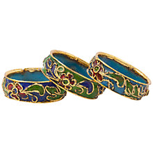 Buy Susan Caplan for John Lewis Enamel Set of Three Cloisonne Rings, Gold/Green Online at johnlewis.com