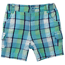 Buy John Lewis Baby Check Print Shorts, Blue Online at johnlewis.com