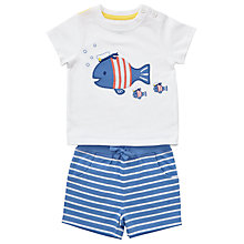 Buy John Lewis Baby Fish T-Shirt and Shorts Set, White/Blue Online at johnlewis.com