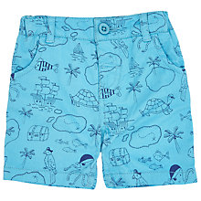 Buy John Lewis Baby Twil Treasure Map Shorts, Blue Online at johnlewis.com