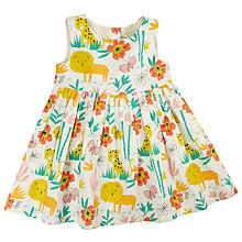 Buy John Lewis Baby Lion & Tiger Woven Dress, Cream/Multi Online at johnlewis.com