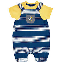 Buy John Lewis Baby Pelican Stripe Dungarees Set, Blue/Yellow Online at johnlewis.com