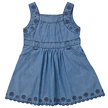 Buy John Lewis Baby Denim Broderie Pini Dress, Blue Online at johnlewis.com