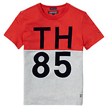 Buy Tommy Hilfiger Boys' Middle T-Shirt, Grey/Red Online at johnlewis.com