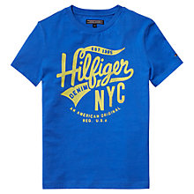 Buy Tommy Hilfiger Boys' Cotton Logo T-Shirt, Blue Online at johnlewis.com