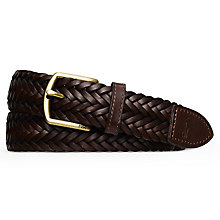 Buy Polo Ralph Lauren Woven Leather Belt, Dark Brown Online at johnlewis.com