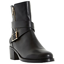Buy Dune Rommie Block Heeled Buckle Detail Calf Boots Online at johnlewis.com