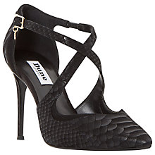 Buy Dune Darcey Cross Strap Stiletto Court Shoes, Black Leather Online at johnlewis.com