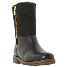 Buy Dune Russell Flat Heeled Calf Boots, Black Leather Online at johnlewis.com