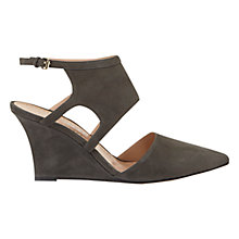Buy Mint Velvet Lara Cut Away Wedge Heeled Court Shoes, Grey Nubuck Online at johnlewis.com