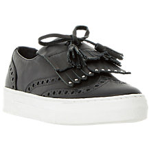 Buy Dune Erynn Tassel Vamp Slip On Trainers, Black Leather Online at johnlewis.com