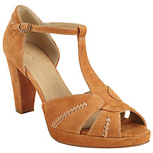 Buy John Lewis Jae T-Bar Block Heeled Sandals, Tan Suede Online at johnlewis.com