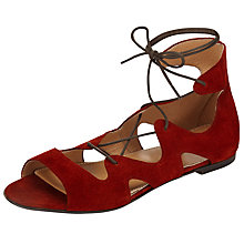 Buy Somerset by Alice Temperley Lopen Tie Front Sandals, Red Online at johnlewis.com