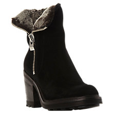 Buy Dune Riva Block Heeled Ankle Boots, Black Suede Online at johnlewis.com