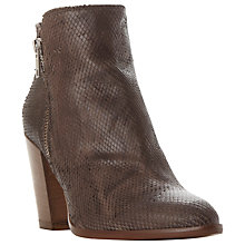 Buy Dune Pia Stacked Heeled Ankle Boots, Taupe Leather Online at johnlewis.com