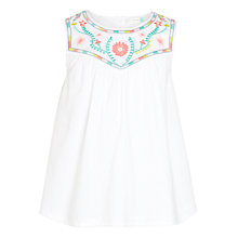 Buy John Lewis Girls' Embroidered Yoke Woven Top, White Online at johnlewis.com